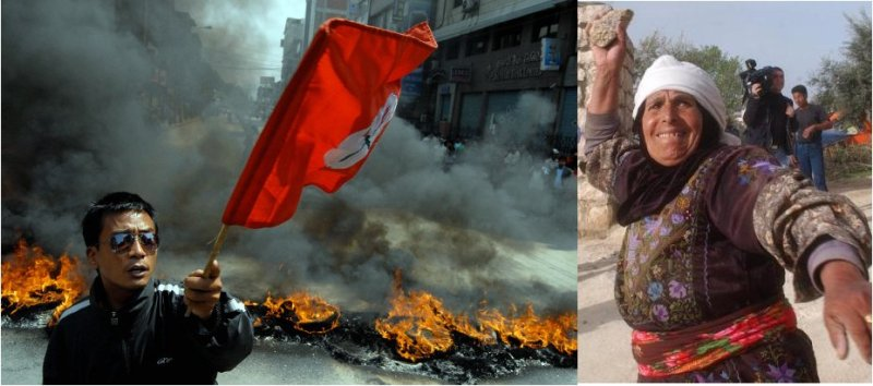 Could she use our exports? Right: A woman in Middle East throwing rock in a protest. Left: A Nepali Congress activist during a protest in 2009.